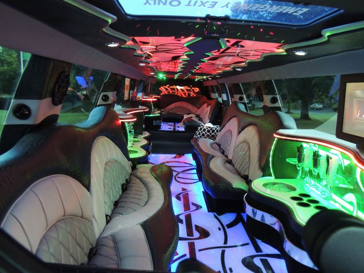 Neon lighting inside the limousine