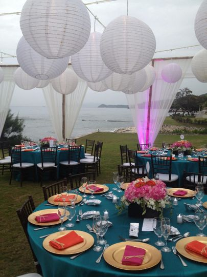 Ocean view garden reception