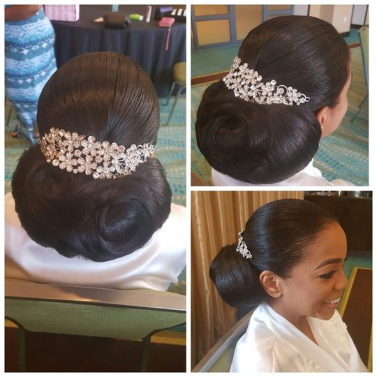 Neat updo with accessory
