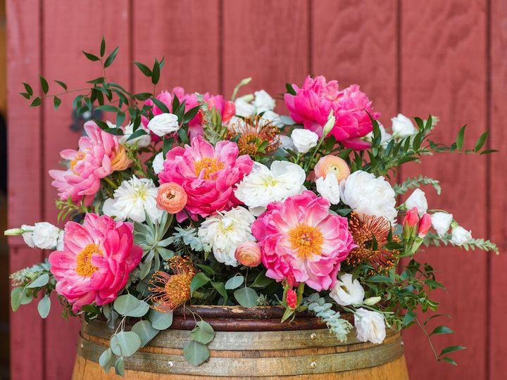 Tmx 1506866402615 Coral Charm Barrel Arrangement   From The Hip Phot Denver, Colorado wedding florist