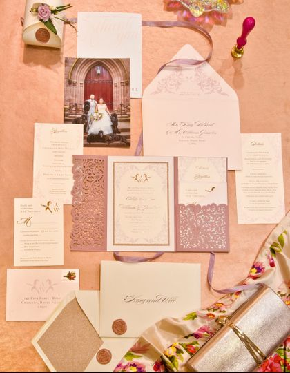 Blush/Rose Gold Invitation Set
