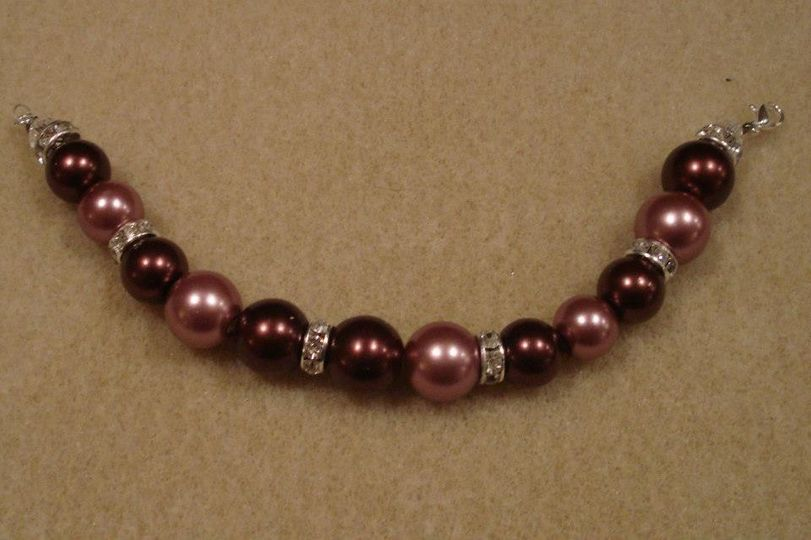 brown and pink pearl beads with swarovksi crystals lobster clasp