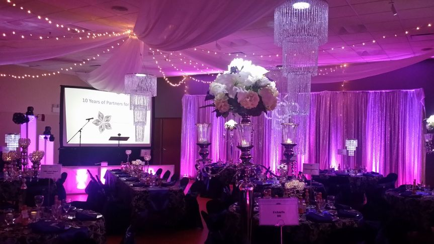 Ceiling decor, pinspot lighting and amazing centerpieces