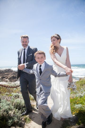 Beach wedding, bride and groom with son, Asilomar State Beach, Pacific Grove