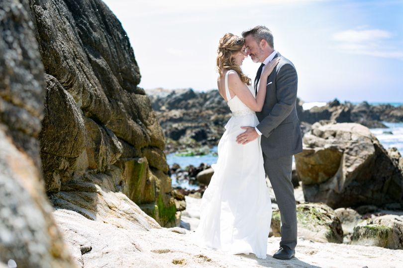 Asilomar State Beach, beach wedding, bride and groom portrait