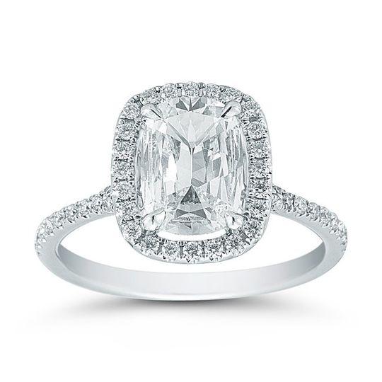 Henri Daussi 1.16ct Cushion Cut Diamond Ring with Halo and Pave Diamond SettingThis...