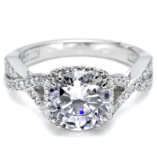Tacori Engagement Ring with Pave-Set DiamondsThis ring includes a ribbon twist band and...
