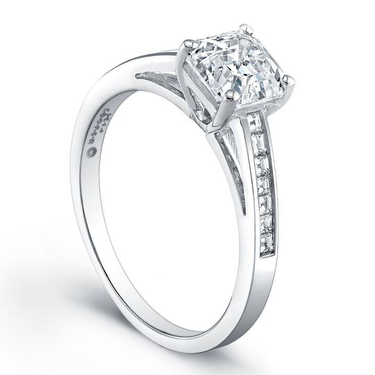 Jeff Cooper Engagement Ring with Tapered Baguettes & Square Emerald Cuts This setting by...