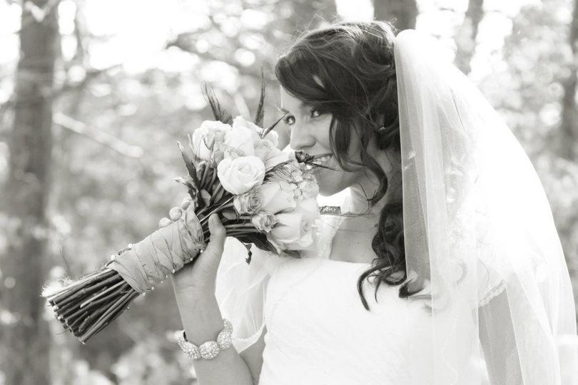 A bride and bouquet
