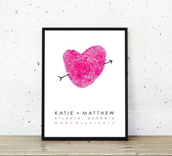 thumprint poster white concrete hot pink