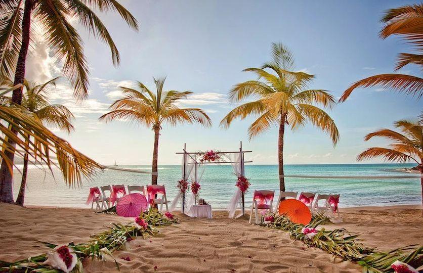 Beach wedding ceremony area