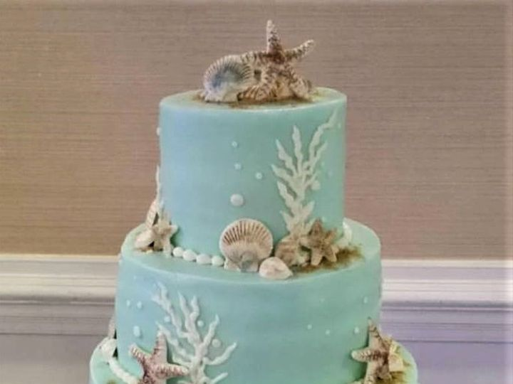 Tmx Teal Wedding Beach Cake 51 166751 1568652122 Virginia Beach, Virginia wedding cake