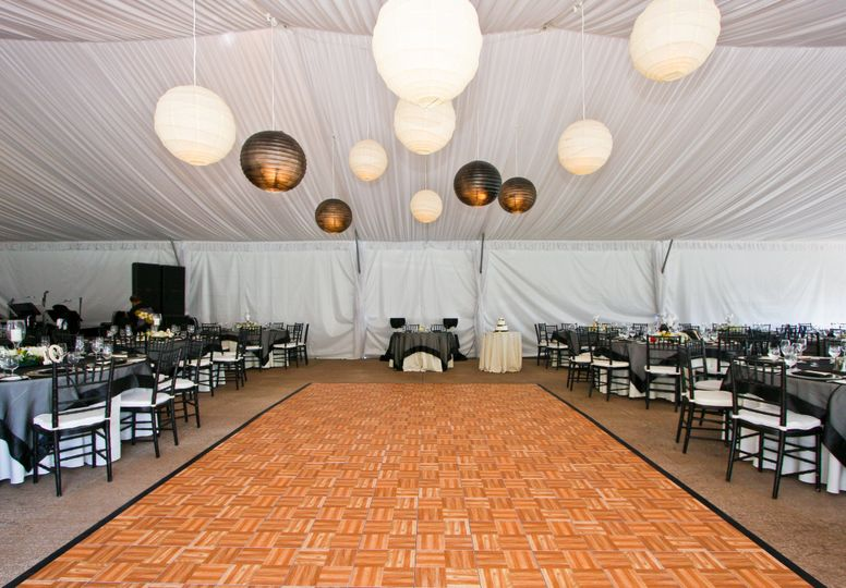 Tent wedding reception interior view