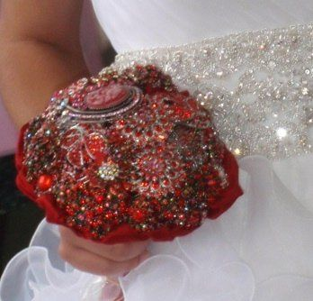 Bouquet of red rhinestone brooches