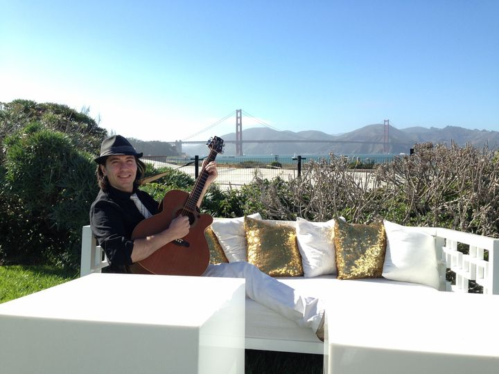 Outdoor wedding with acoustic guitar and wireless system. Wedding at the Presidio's Observatory -...