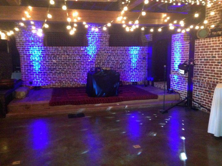 DJ set up with uplights. Wedding in Sausalito.