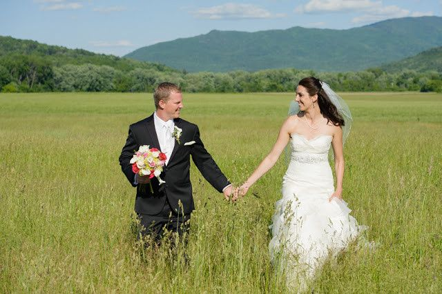 Bride and groom in the fields