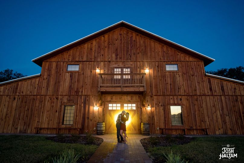 Barn front glows at twilight