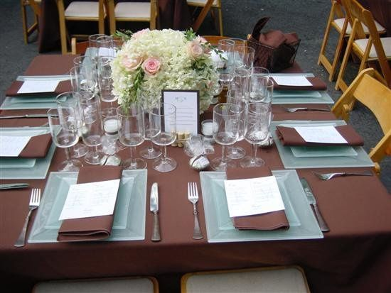 Square table and place settings on Chocolate Brown