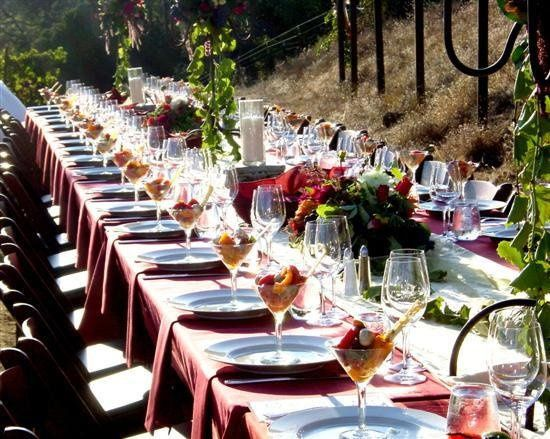 Reception on a vineyard road
