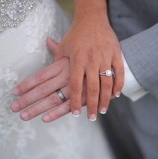 Wedding rings on display