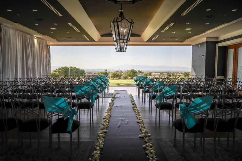 Indoor ceremony space with a view