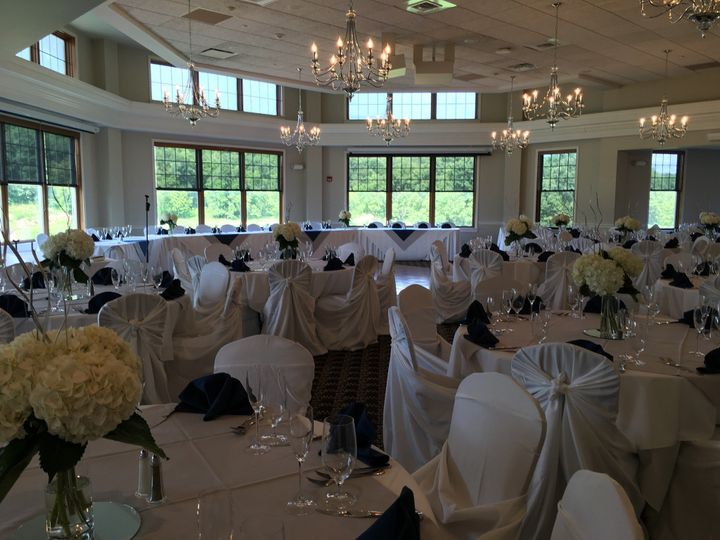 Gorgeous Navy, Gray, and White Wedding Reception
