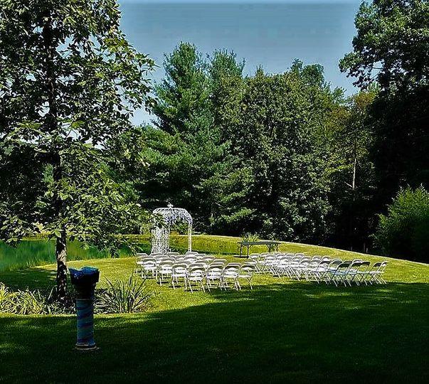 A ceremony by the pond.
