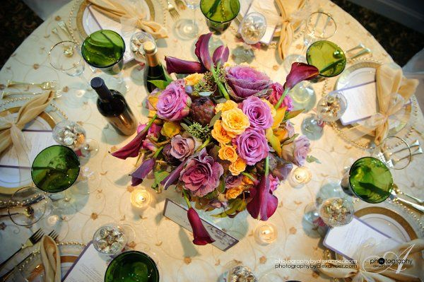 Floral centerpiece for wine country setting.