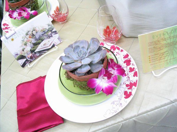 Placesetting of succulents and orchids