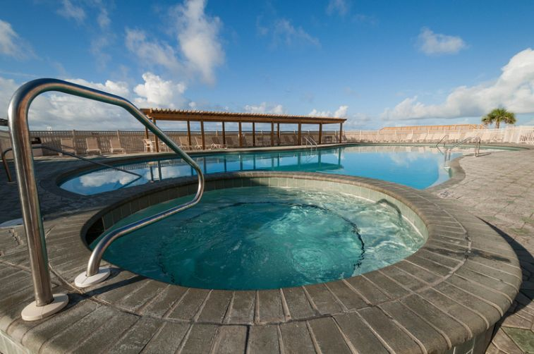 Beach side pool and hot tub