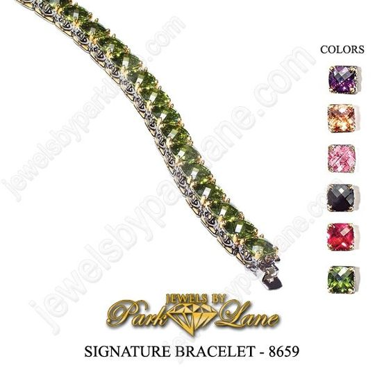 This upscale, designer-inspired ensemble is fashioned from sparkling faceted gems set in two-tone...