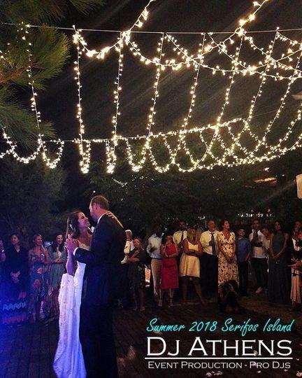 Wedding Djs in Greece - Serifos island / Dj Athens Wedding Parties in Greece. Fairy lights above the...