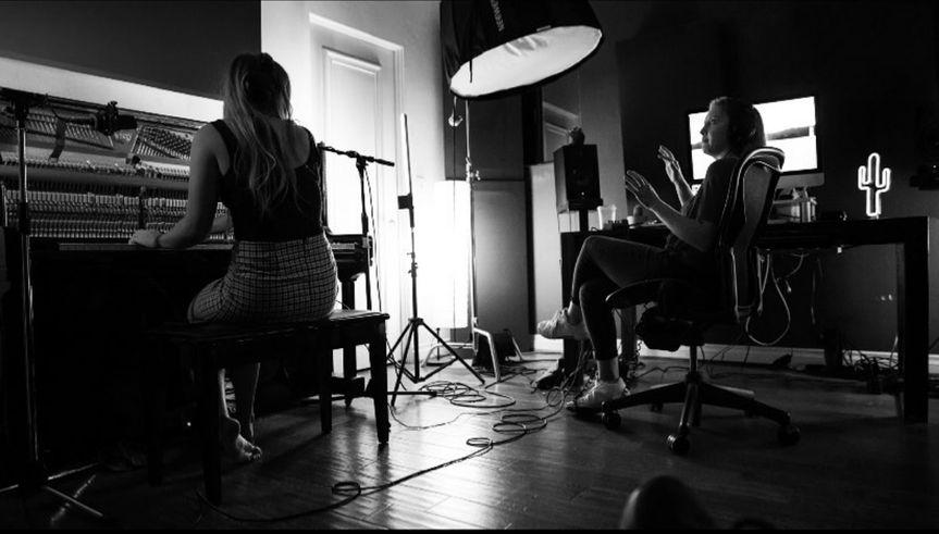 Zoe and Hope recording piano