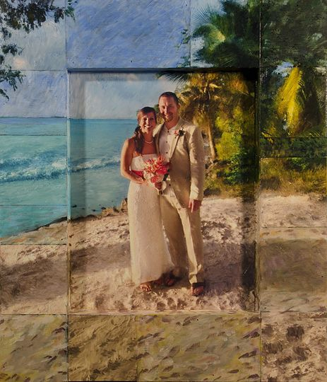 "19""X22"" Mixed media from clients destination wedding in St. Lucia"