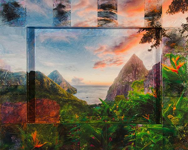 St. Lucia 22X28 mixed media View from bridal couples honeymoon suite.  1st anniversary present from...