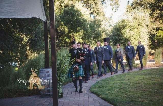 Leading the groom and his men