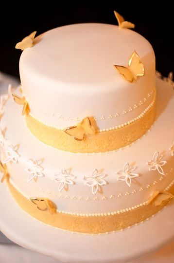 White cake with yellow accent