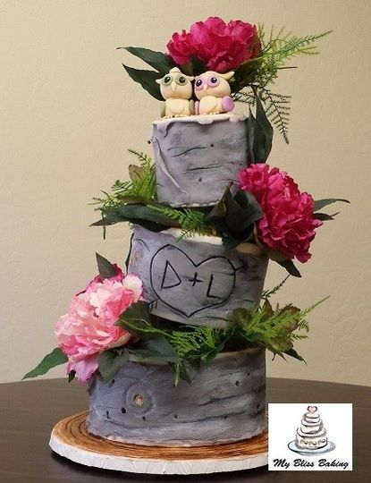 topsy turvy birch tree wedding cake