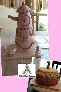 teapot and ruffle 1st birthday cakes