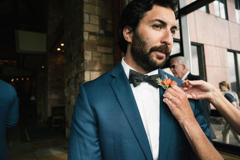Dashing groom gets pinned