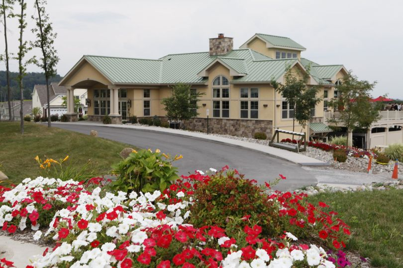 clubhouse and flowers