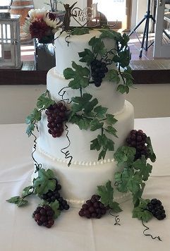 Winery Wedding CakeGumpaste Grape Vines with Isomalt Sugar Grape Clusters