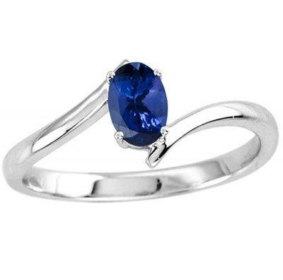 0.40 TCW Oval Tanzanite Ring in 14K White Gold  Price: $196.50