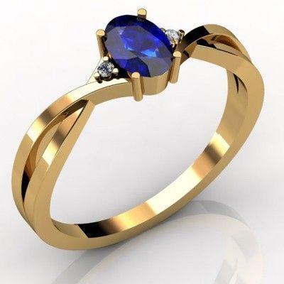 0.52 TCW Oval Tanzanite Ring in 14K Yellow Gold - Price: $430.00