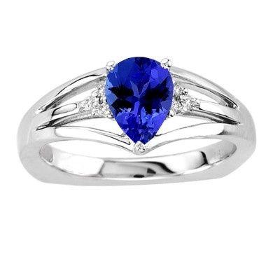 0.80 TCW Pear Tanzanite Ring in 14K White Gold - Price: $370.50