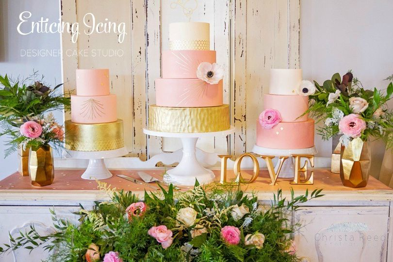 Blush and gold wedding cake trio