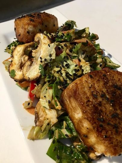 Cast-Iron Seared Wahoo with Asian Vegetable Slaw