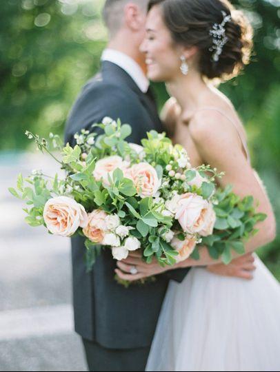 Peach bridal bouquet
