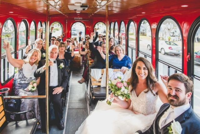 Wedding party in the trolley